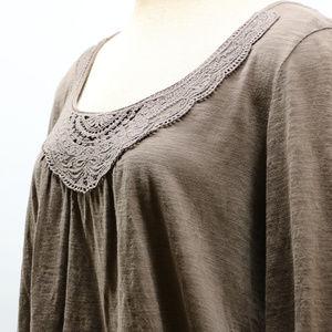St. John's Bay Tops - St. Johns Brown Long Sleeve Crochet Neck Blouse XL